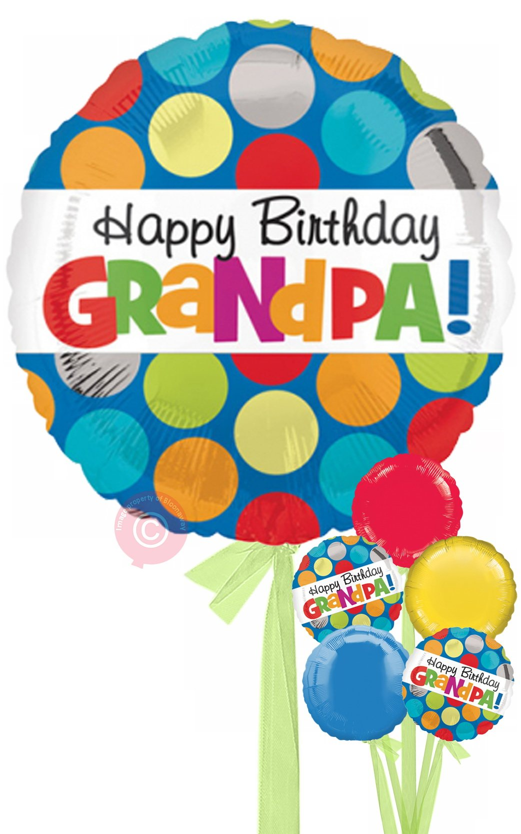 Personalised Polka Dot Happy Birthday Grandpa Balloons Delivered Inflated