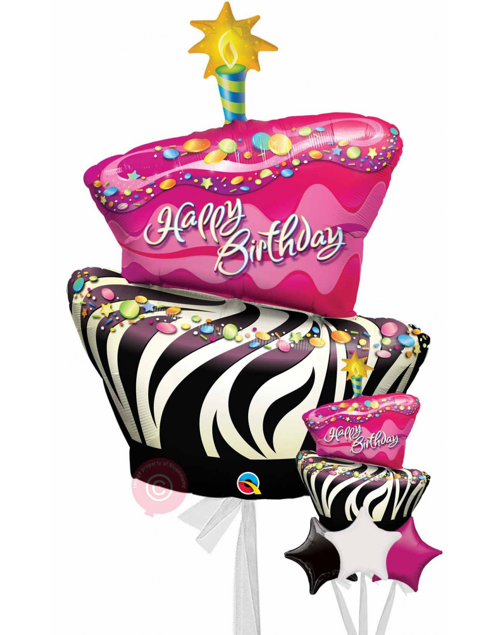 Peachy Personalised Birthday Funky Zebra Stripe Cake Balloons Delivered Birthday Cards Printable Benkemecafe Filternl