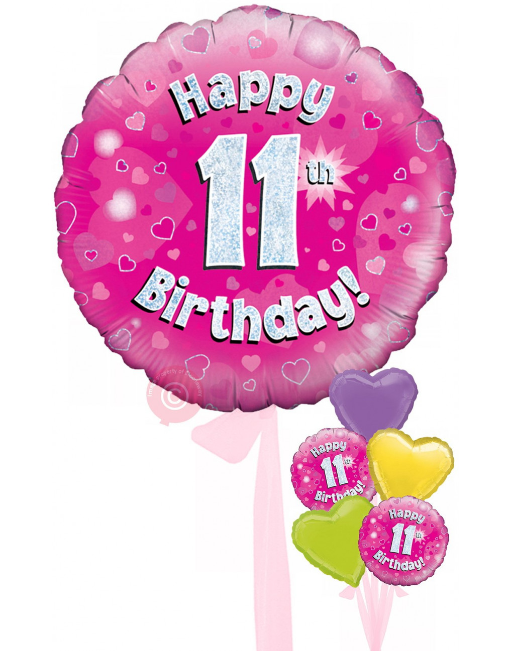 Num 11 Happy 11th Birthday Pink Holographic Balloons