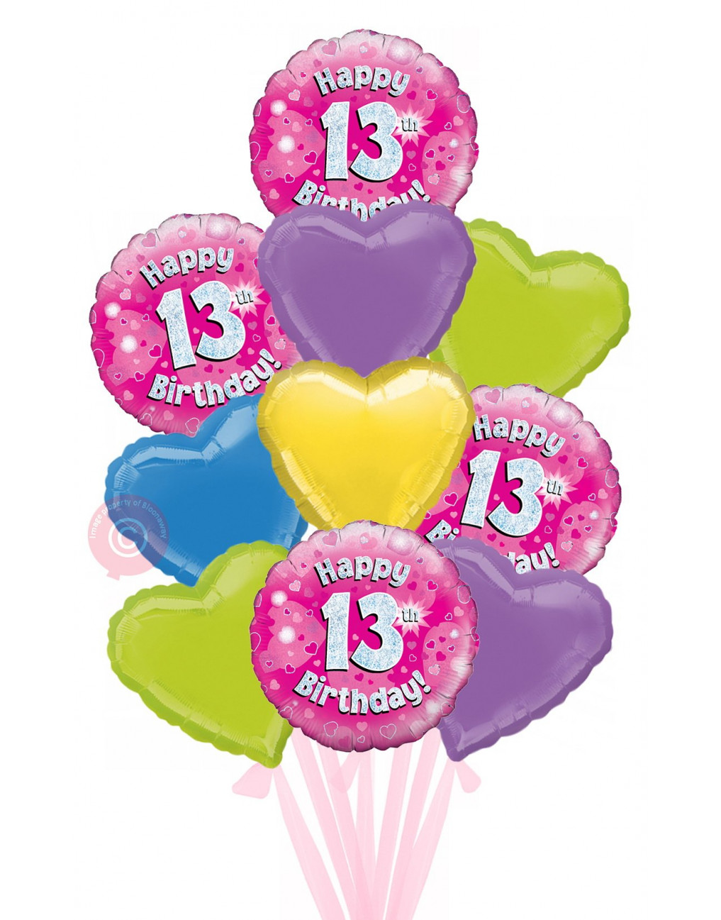18 Happy 13th Birthday Pink Holographic Biggest Bouquet