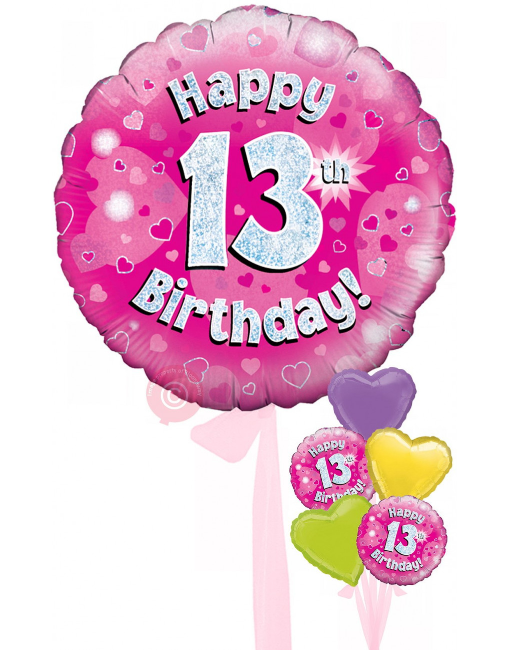 Num 13 Happy 13th Birthday Pink Holographic Balloons