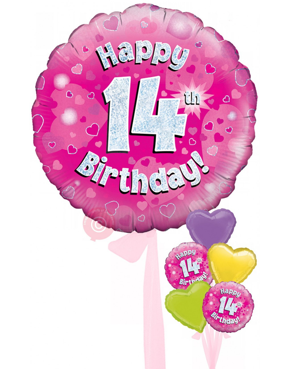 Personalised 14 Happy 14th Birthday Pink Holographic Balloons Delivered Inflated