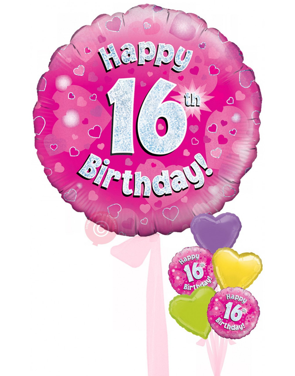 Num 16 Happy 16th Birthday Pink Holographic Balloons