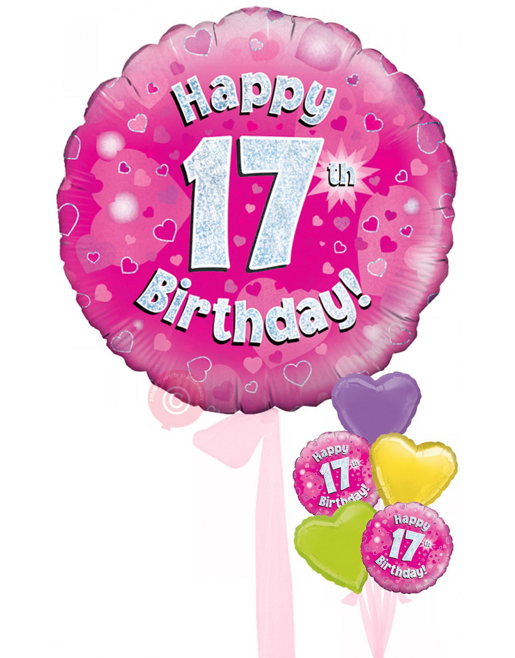 Personalised 17 Happy 17th Birthday Pink Holographic Balloons