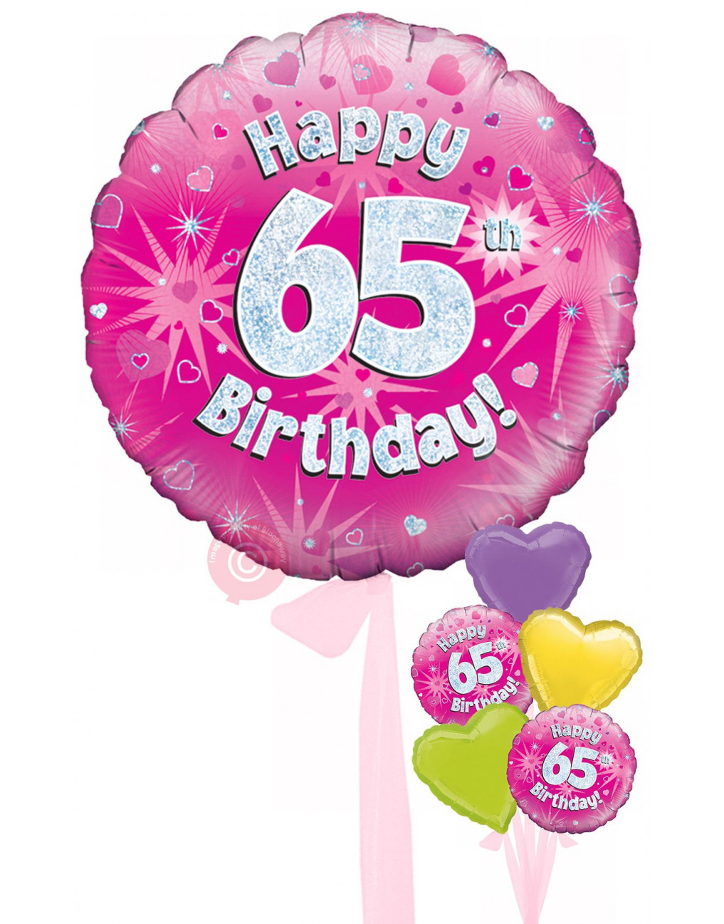 Num 65 Happy 65th Birthday Pink Holographic Balloons