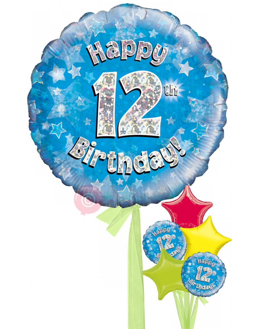 Num 12 Happy 12th Birthday Blue Holographic Balloons
