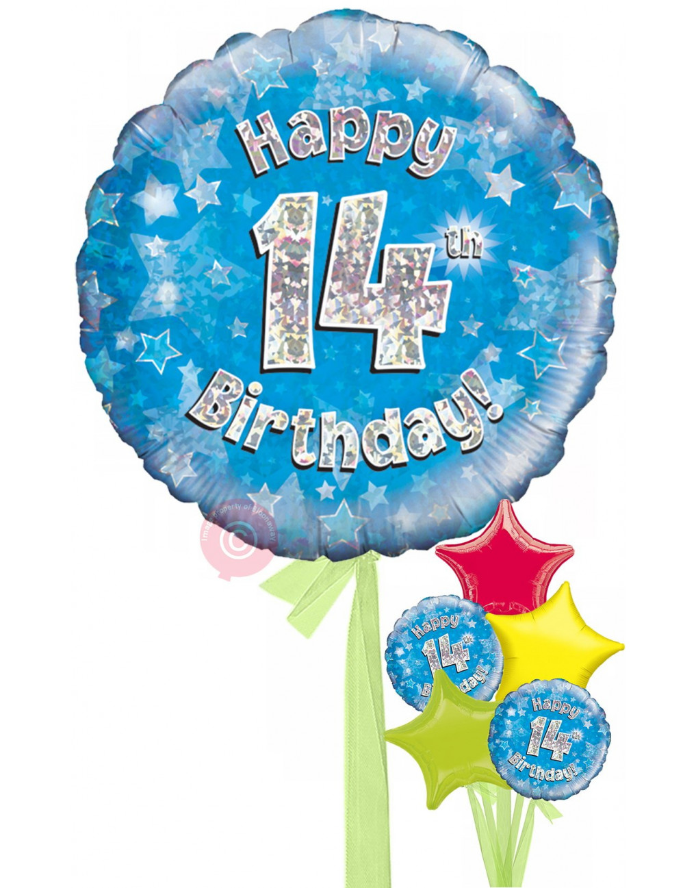 Personalised 14 Happy 14th Birthday Blue Holographic Balloons Delivered Inflated