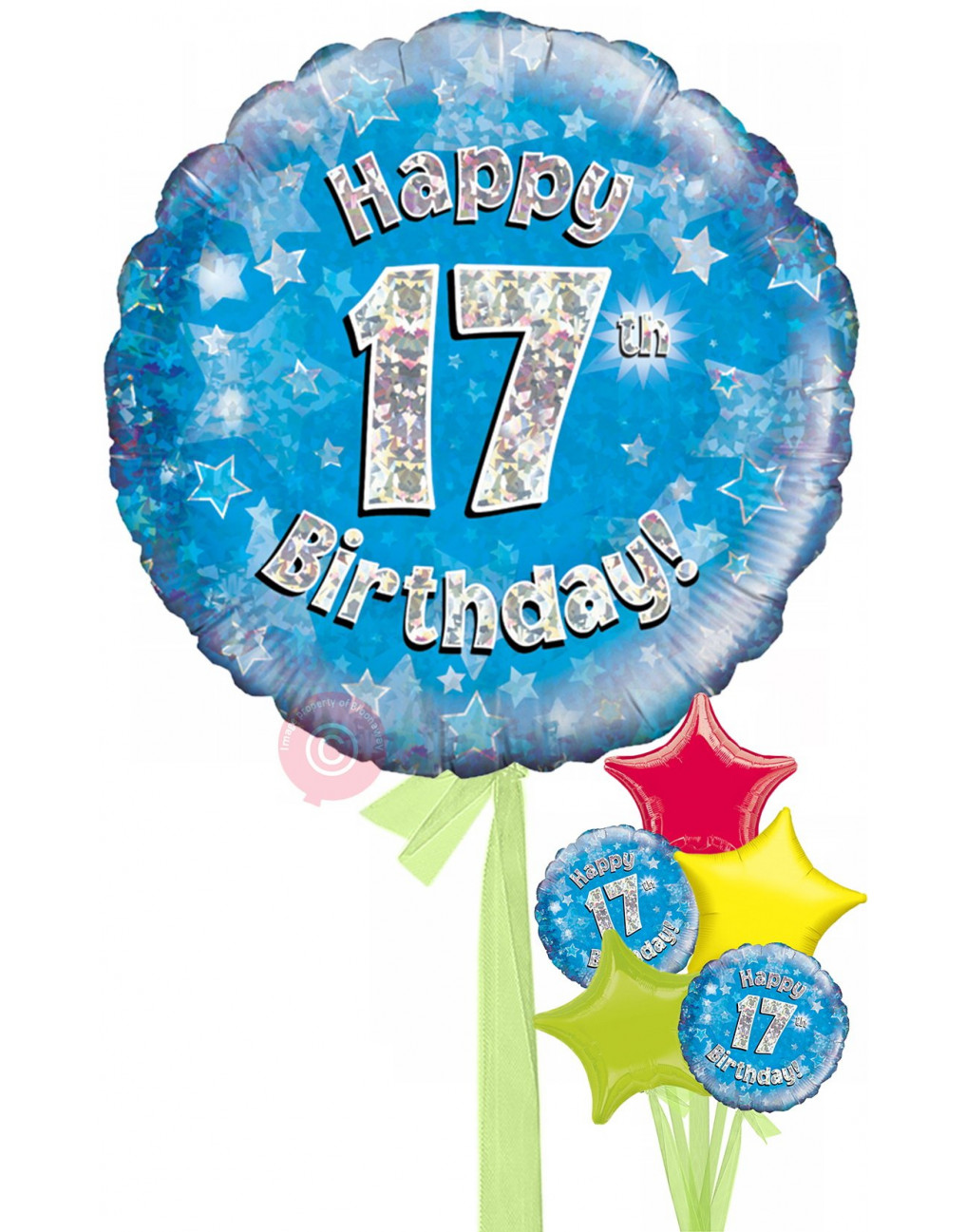 Personalised 17 Happy 17th Birthday Blue Holographic Balloons