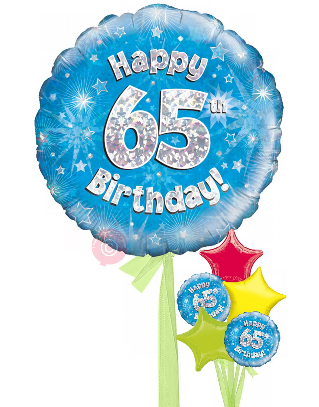 Num 65 Happy 65th Birthday Blue Holographic Balloons