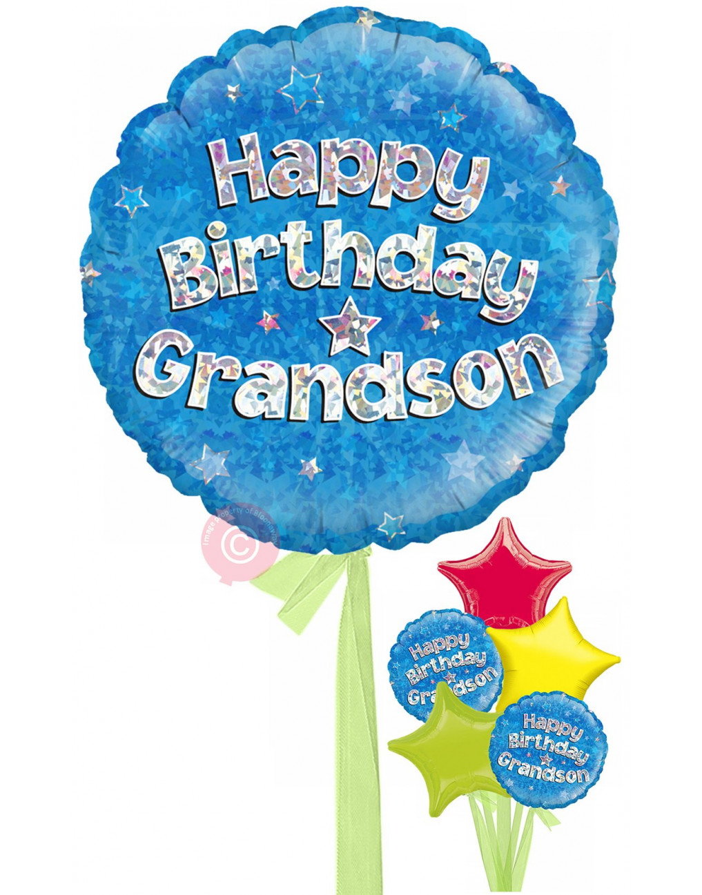 Personalised Happy Birthday Grandson Holographic Balloons Delivered Inflated