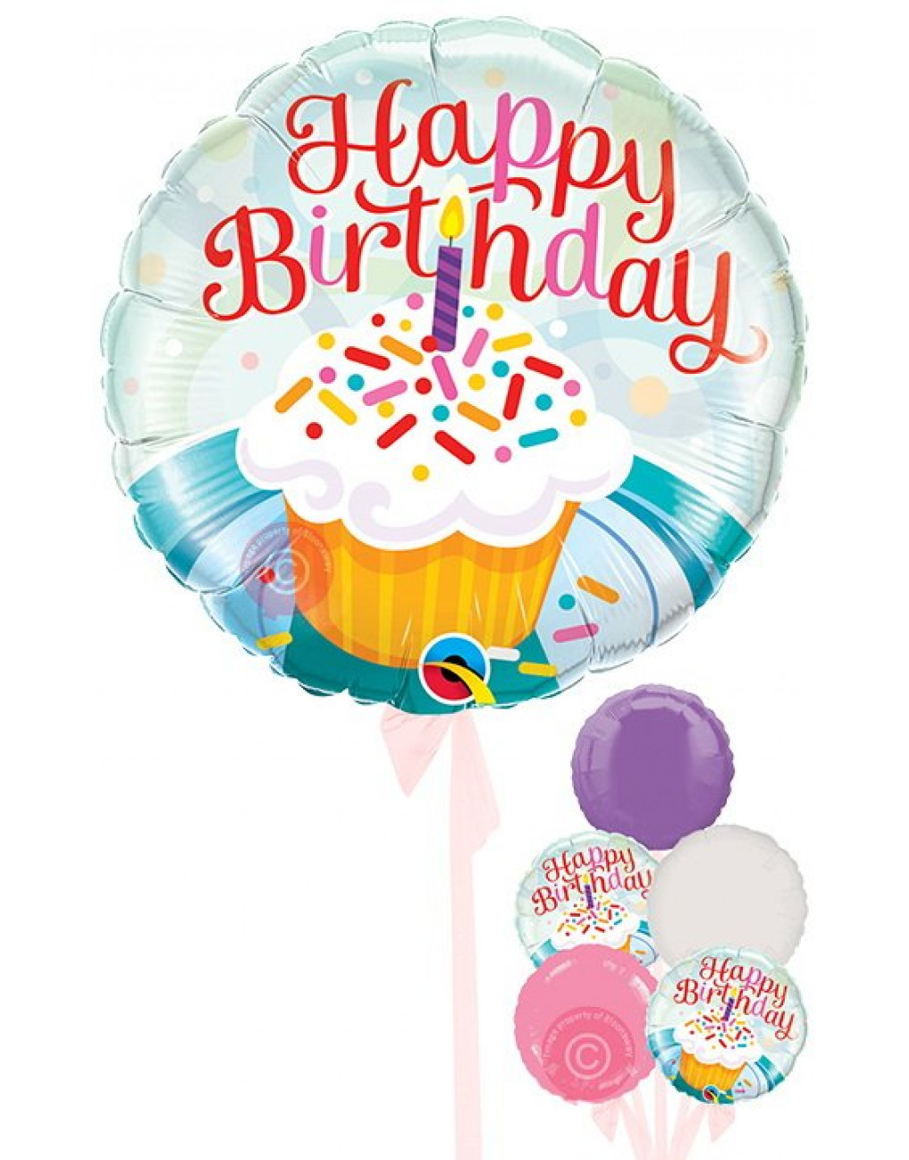 Outstanding Personalised Happy Birthday Cupcake And Sprinkles Balloons Funny Birthday Cards Online Overcheapnameinfo