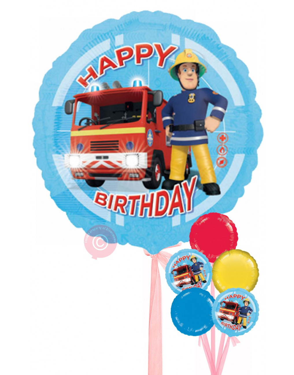 Personalised Fireman Sam Happy Birthday Balloons Delivered Inflated