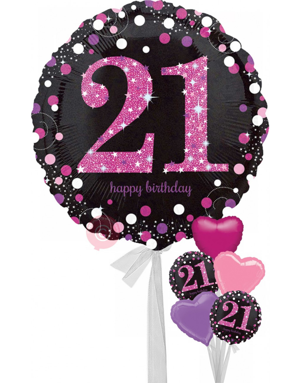 Num 21 Pink Celebration Happy Birthday Balloons