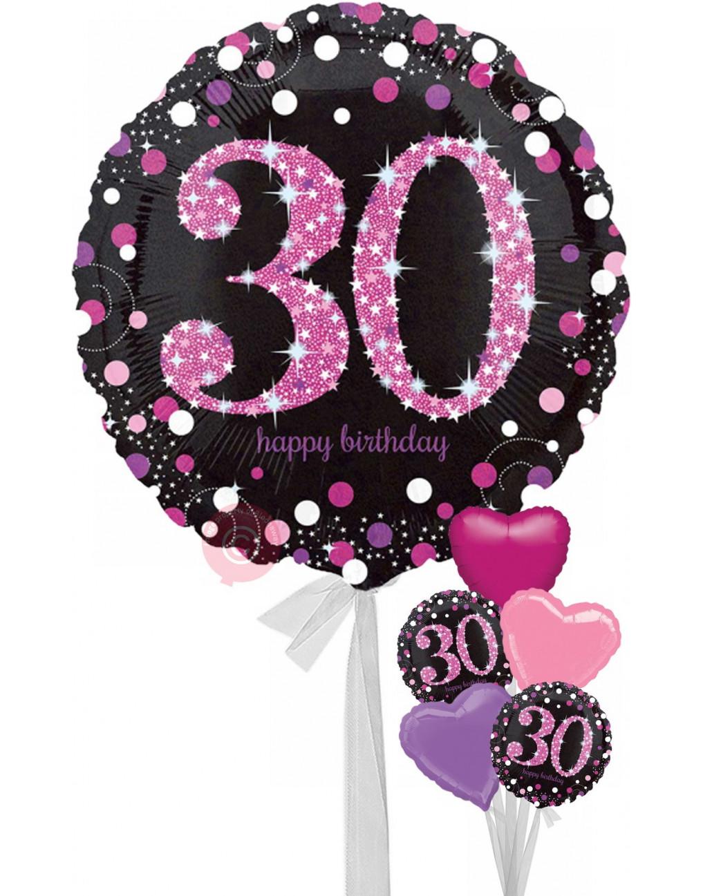 Num 30 Pink Celebration Happy Birthday Balloons