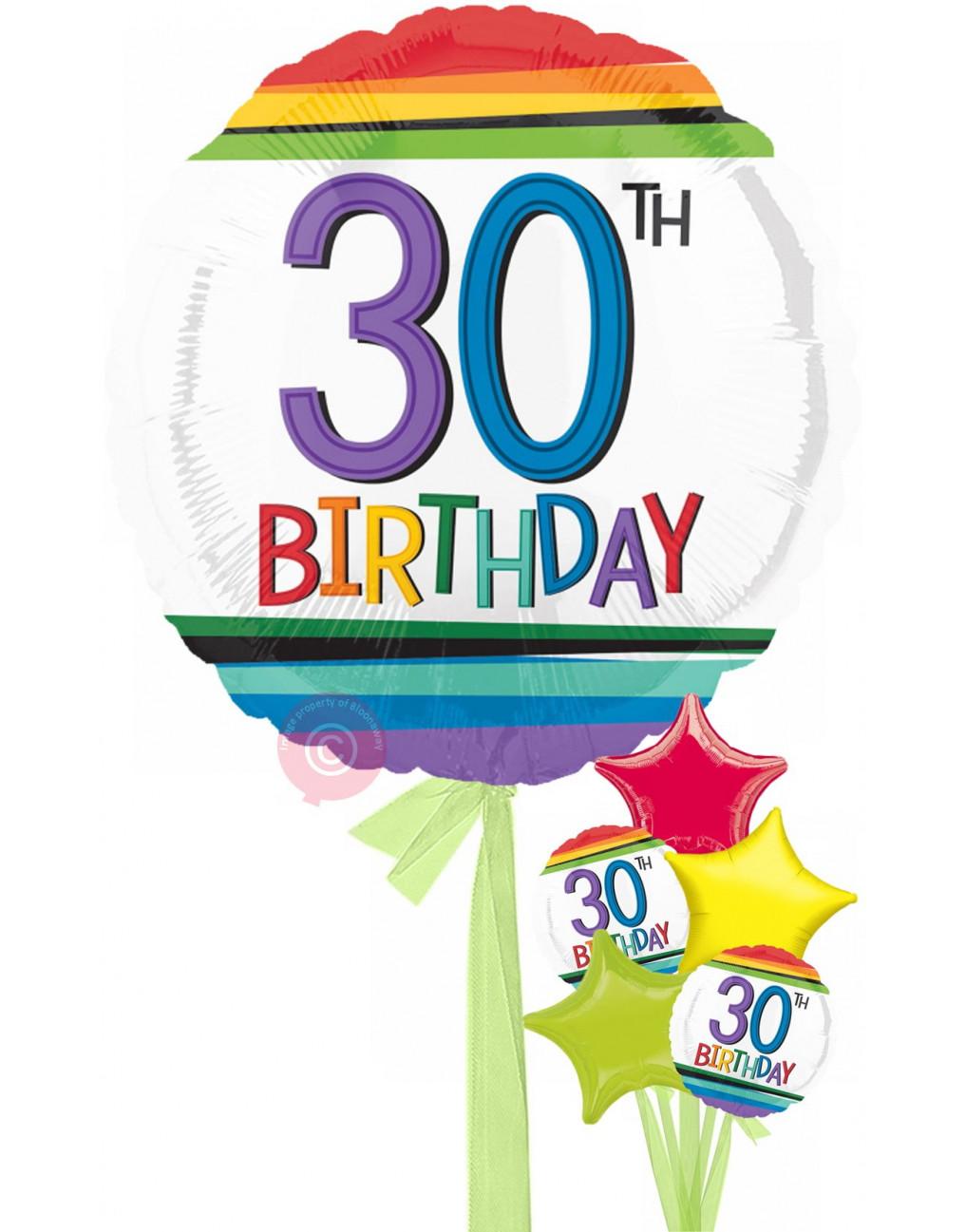 Num 30 Rainbow 30th Birthday Balloons