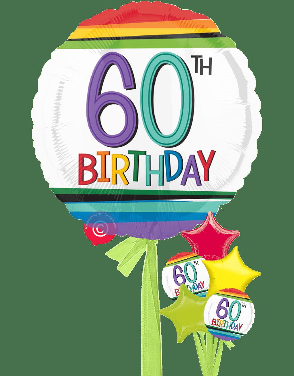 Personalised Num 60 Rainbow 60th Birthday Balloons ... (1017 x 1297 Pixel)