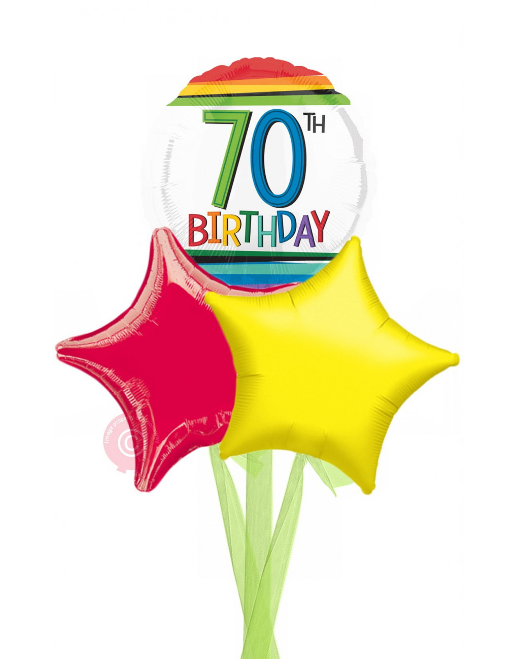 Personalised Num 70 Rainbow 70th Birthday Balloons Delivered Inflated