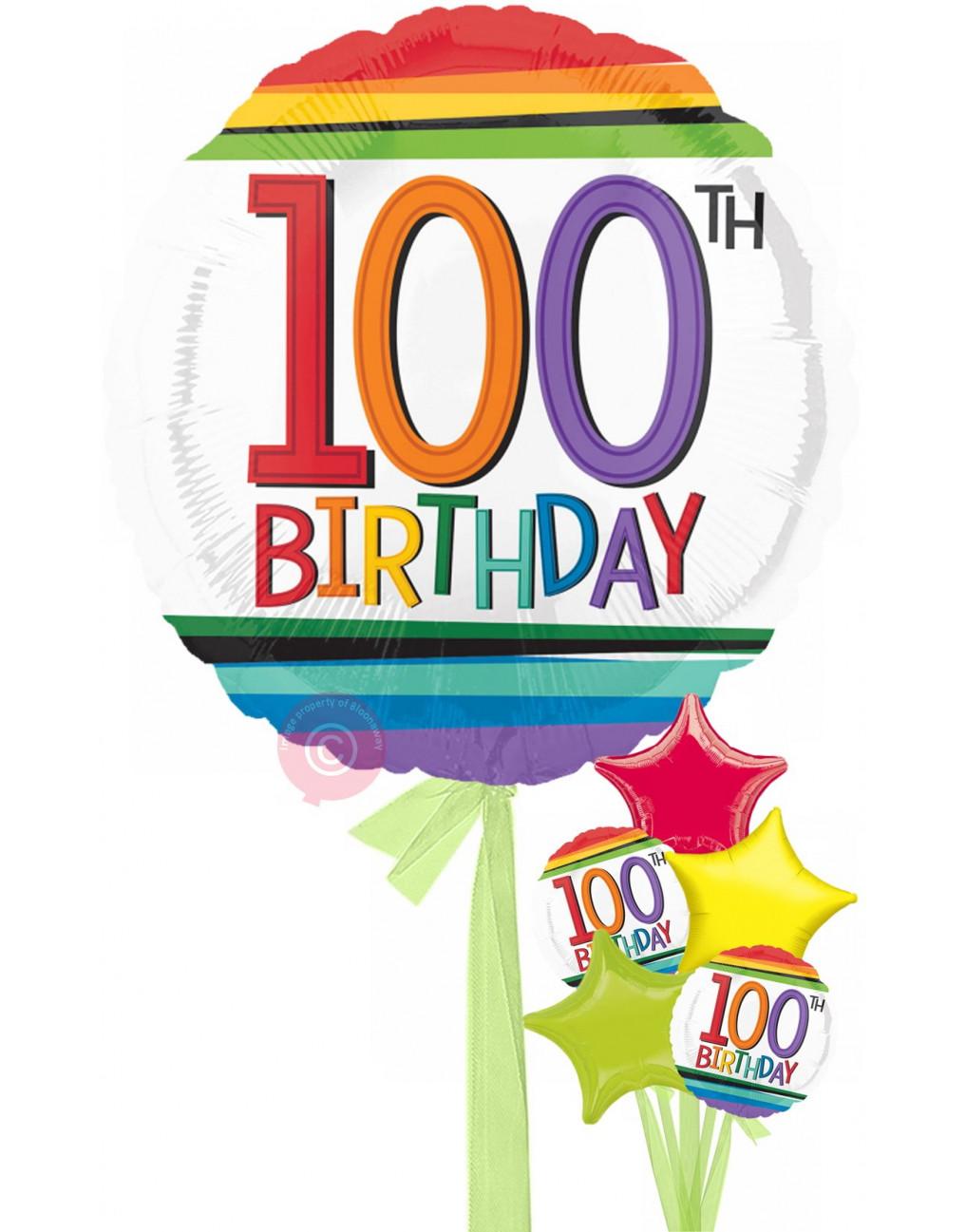 Number 100 Rainbow 100th Birthday Balloons