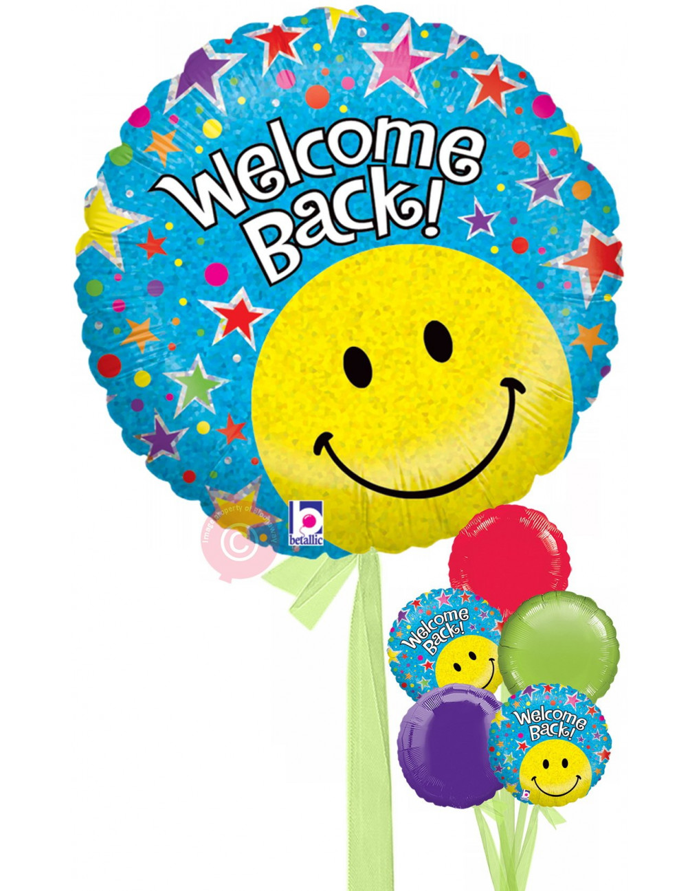 Personalised Welcome Back Holographic Balloons Delivered Inflated