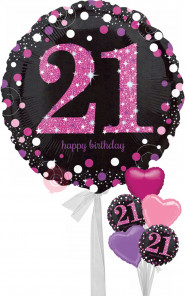 Num 21 Pink Celebration Happy Birthday