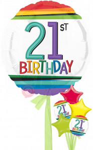 Num 21 Rainbow 21st Birthday