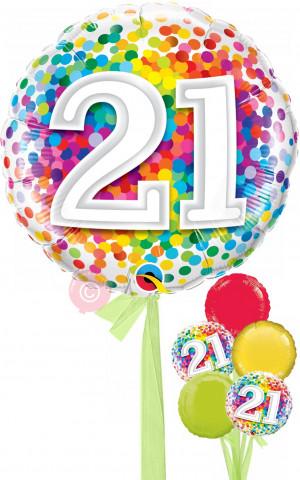 Num 21 Rainbow Confetti